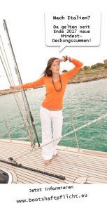 Mit dem Sportboot in Italien? Neue Deckungssummen ab Herbst 2017 beachten